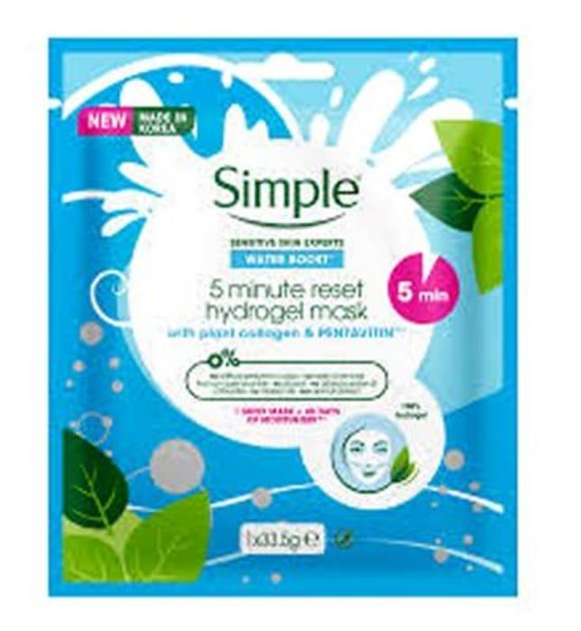 Simple Waterboost 5 Minute Reset Hydrogel Mask HALF PRICE