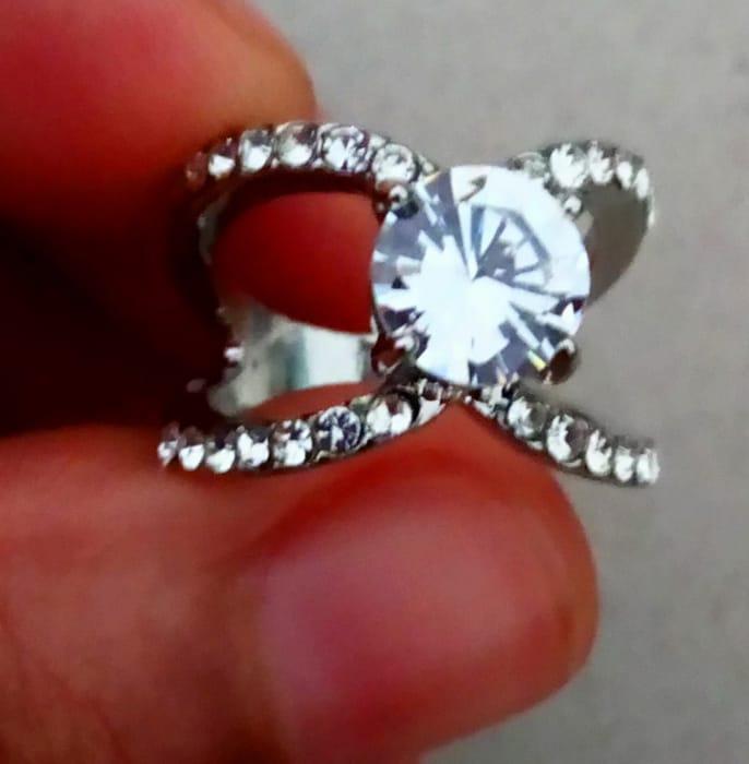 White Rhinestone Engagement Ring