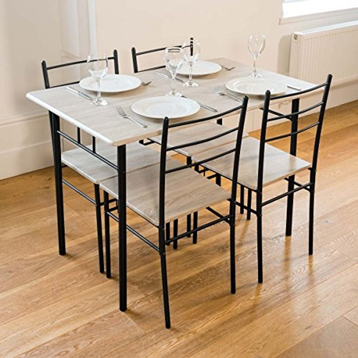 Cecilia 5 Piece Dinner Table and Chairs Set Modern Dining Only £69.99 Delivered
