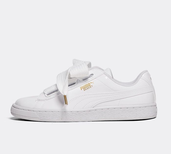 Puma patent basket heart trainer in white at Asos