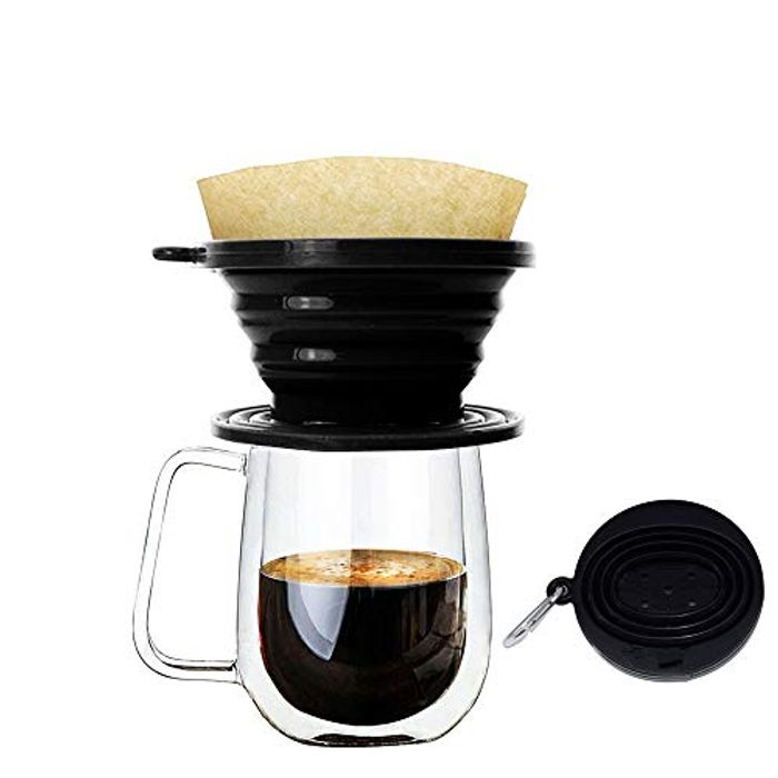 Wolecok Silicone Collapsible Coffee Filter, Camping Coffee Dripper (Black)