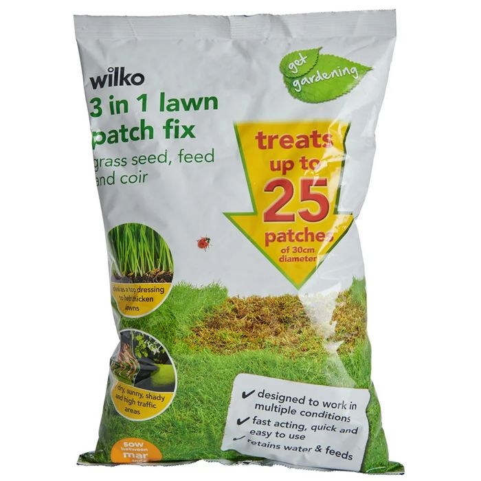 Wilko 3-in-1 Grass Seed Feed and Coir Lawn Patch Fix 25 Patch Pack 800g