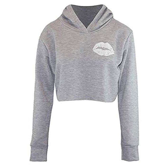 WOW! 10p Delivered. Cute Lips Hoodie Fleece Sweatshirt Crop Top