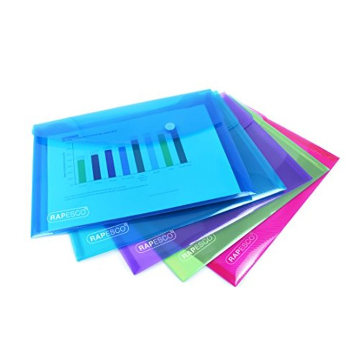 A5 Plastic Popper Wallet, Assorted Transparent Colours, Pack of 5