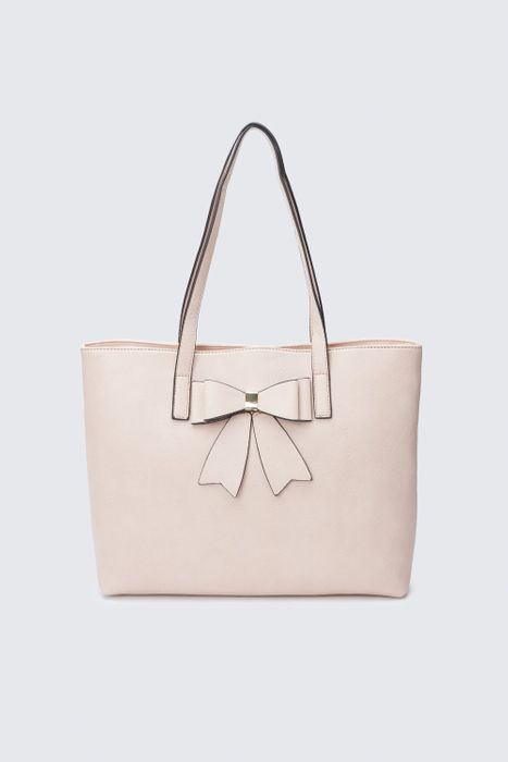 Nude Bow Shopper Bag at Select Fashion - Save £2