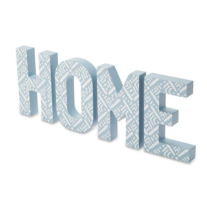 Blue Patterned 'Home' Wood Word Blocks