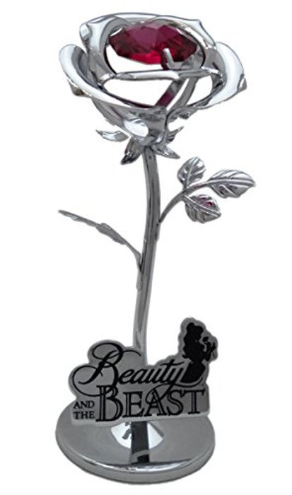 Disney Chrome Plated Small Rose Beauty and the Beast Gift Ornament