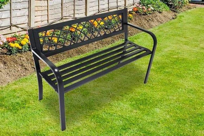 Black Metal Garden Bench Save £60.99