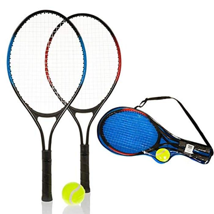 2 Player Lightweight Aluminium Kids Tennis Metal Racquet and Ball Set
