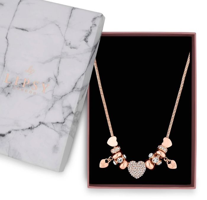 Lipsy - Rose Gold Pave Crystal Heart Charm Necklace