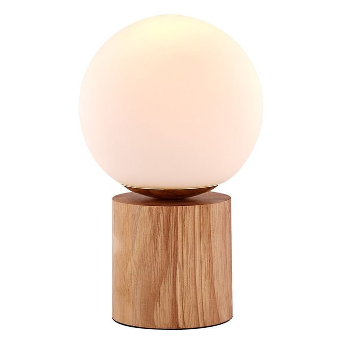 Modern and Stylish Rubber Wood Table Lamp with Circular White Glass Shade