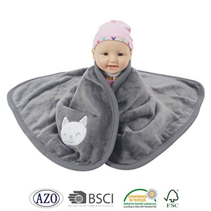 Luxury Flannel Baby Blanket with Cute Embroidered Animal