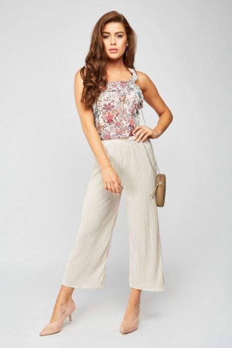 Cream Crop Plisse Trousers