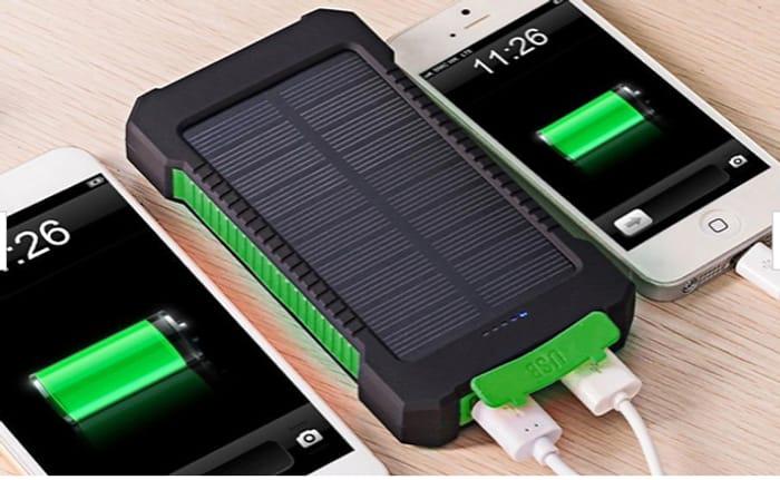 Dual USB Solar Power Bank with Flashlight - 3 Colours