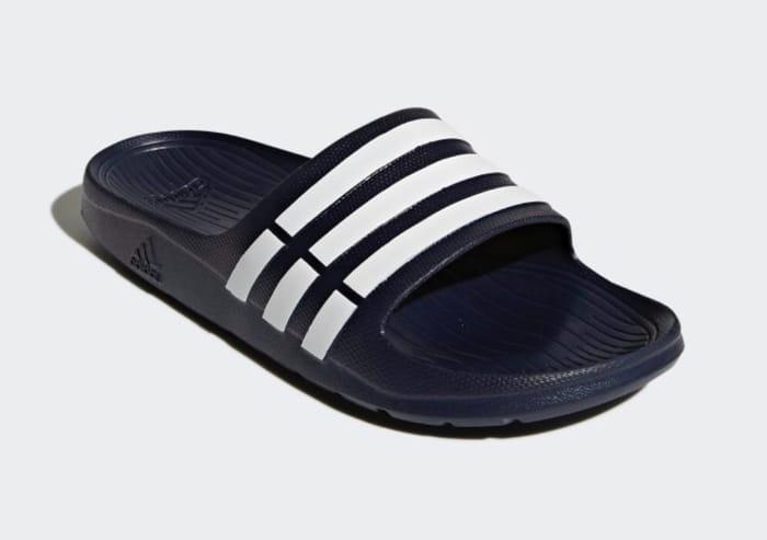 Mens Adidas Sliders - Black & Blue
