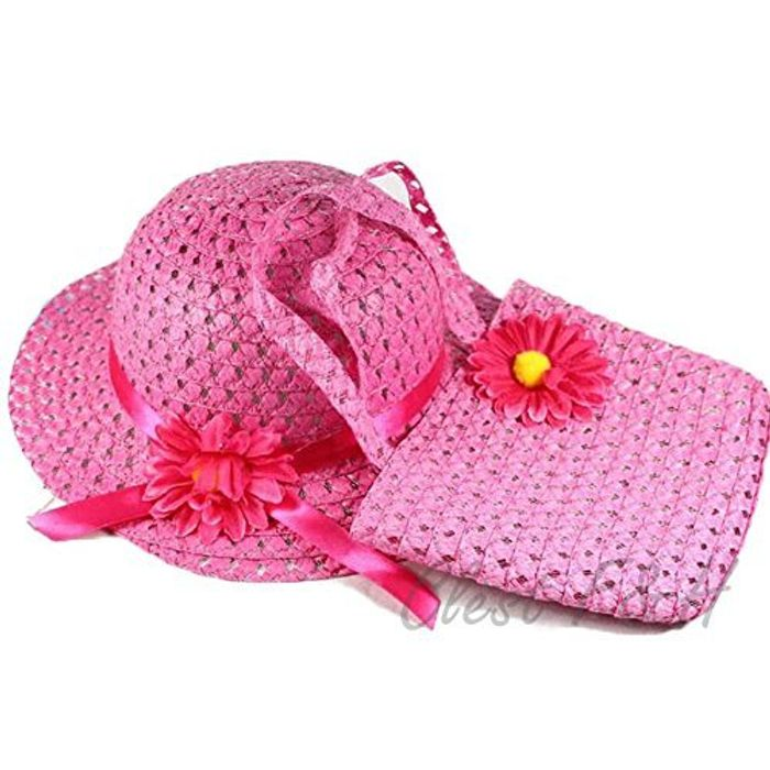 Baby Girl Sun Hat and Handbag Sets-Muti Color (Rose Red)