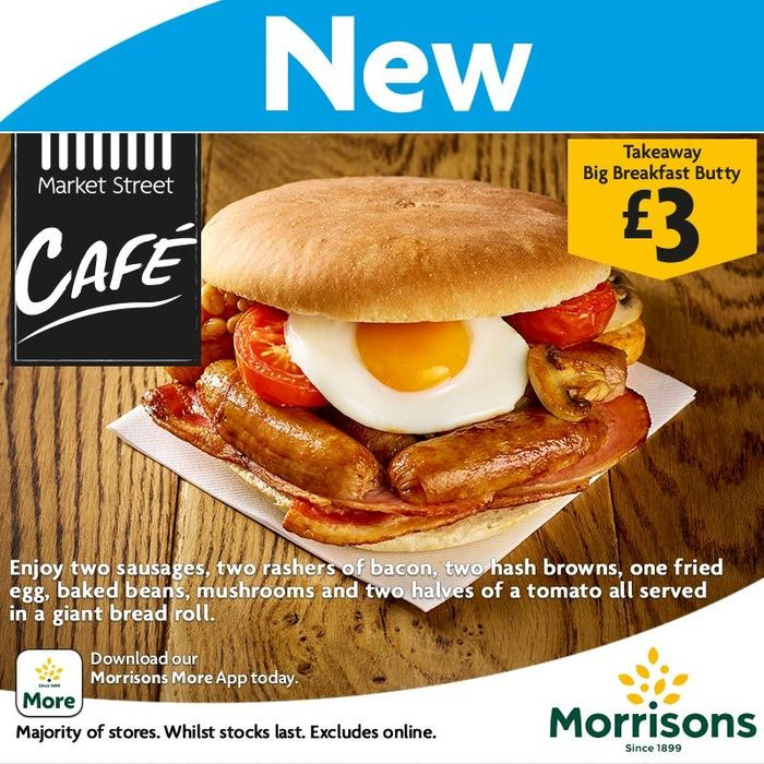 Big Breakfast Butty Inc Bacon, Sausages, Eggs & Hash Browns £3 to Takeaway