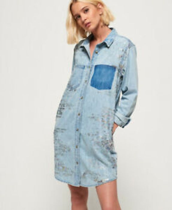 Womens Superdry Oversized Denim Shirt Dress Iridescent Splash - 60% Off