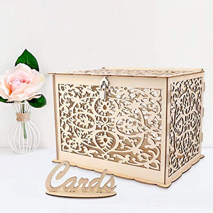 Aparty4u Wooden Wedding Card Post Box with Lock and Card Sign