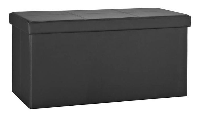 Argos Home Large Faux Leather Stitched Ottoman - Black Only £12.99