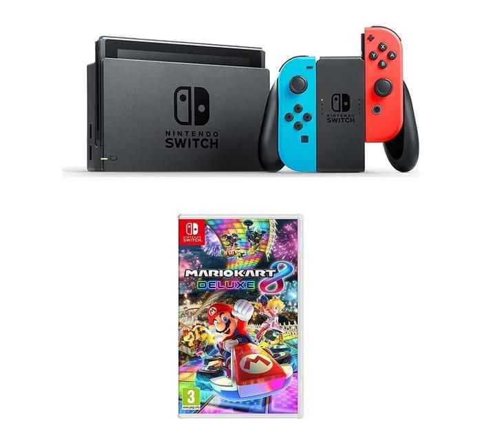 NINTENDO Switch Neon Red & Mario Kart 8 Deluxe Bundle Only £279