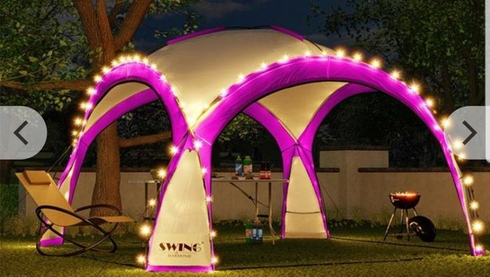 XXL LED Event Pavilion W/ Mosquito Net & Side Walls - 6 Colours!