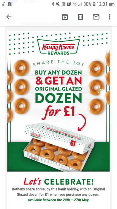 Original Glazed Dozen for £1 When You Purchase Any Dozen