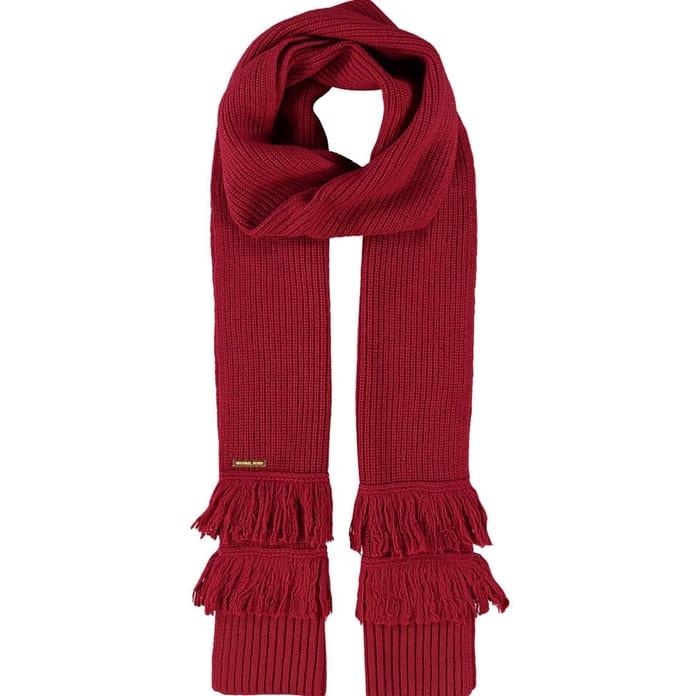 MICHAEL KORS Dark Red Fringed Wool Blend Shaker Scarf