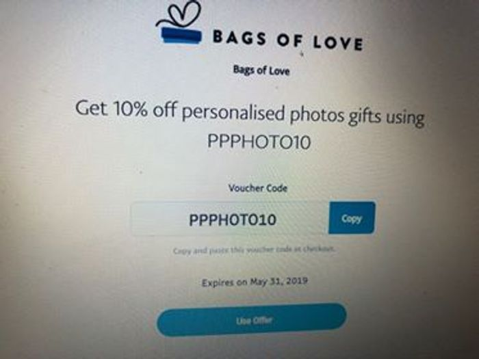 BAGS of LOVE - Get 10% off Personalised Photos Gifts Using Paypal