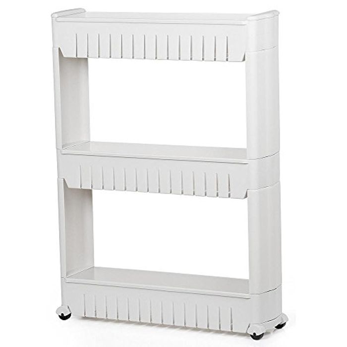 White 3-Tier Slide out Removable Storage Tower Kitchen