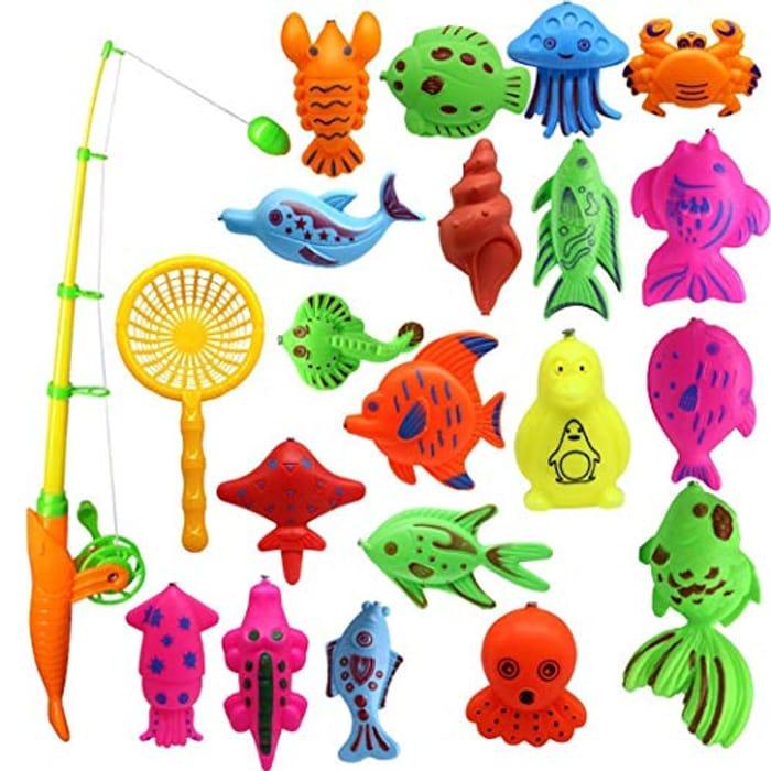 Fenido Creative Baby Bathing Toy 22-Piece Magnetic Fishing Toy Set