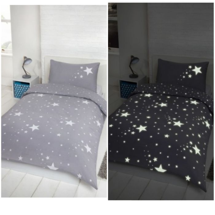 Glow in the Dark Stars Duvet Set, Single. Other Colours Available.