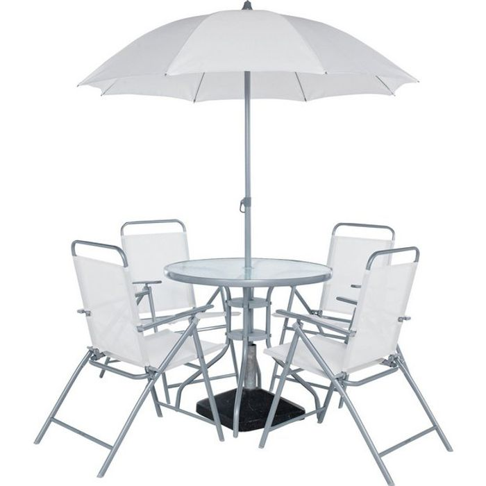 Simple Value 4 Seater Metal Patio Set - Silver