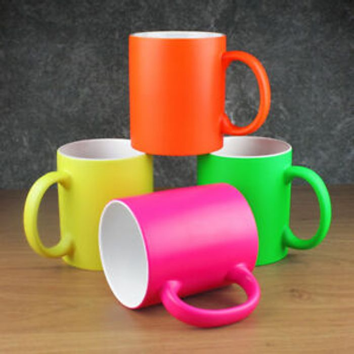 Set of 4 Neon Mugs Free Delivery