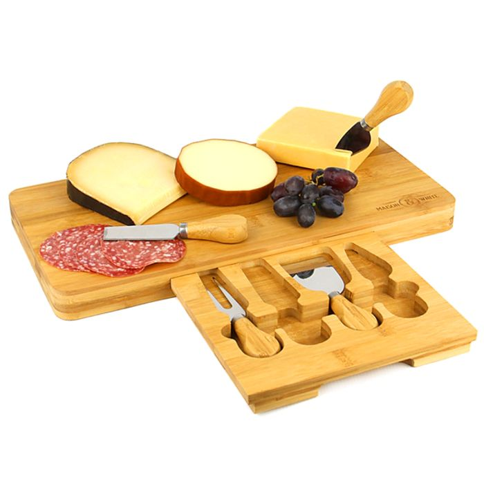 Bamboo Cheese Board Serving Platter with Knife Set