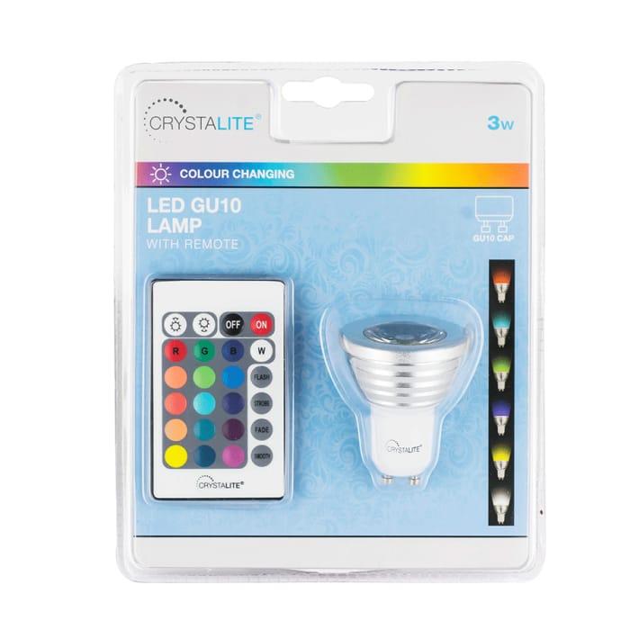 Status Crystalite Colour-Changing LED GU10 3W RGB Bulb Kit