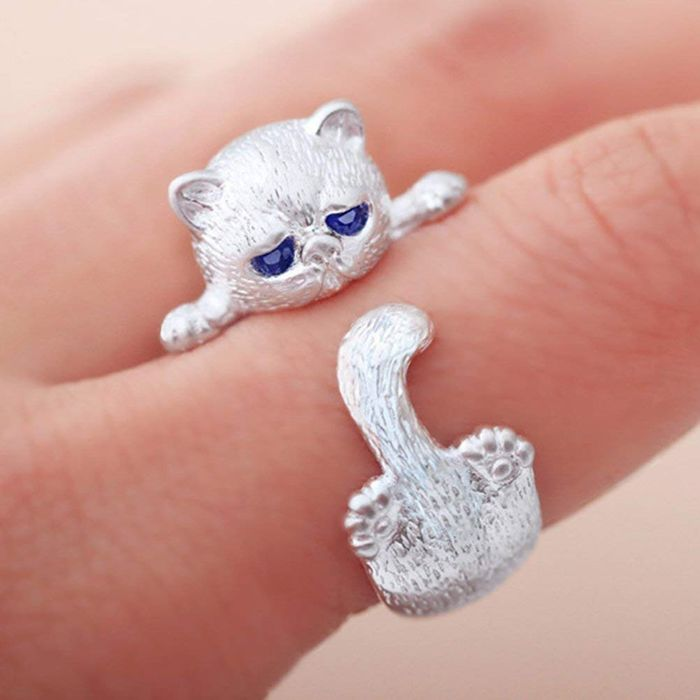 Yesiidor Cat Ring Cute Animal Shape Opening Ring Only £0.5 Delivered