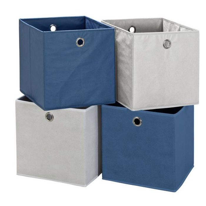 Argos Home Set of 4 Squares Boxes - Blue & White