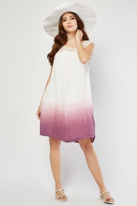 Crochet Trim Ombre Dress