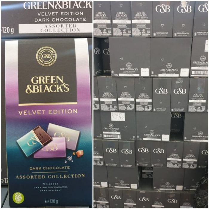 CASE of 5 Green & Blacks Dark Velvet Edition Assorted Collection 5x120g