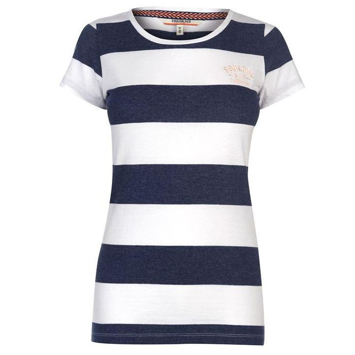 SoulCal Stripe T Shirt Ladies (Navy or Mint)