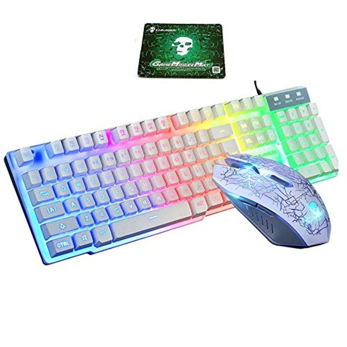 Professional T6 Rainbow Backlight USB Gaming Mechanical Keyboard + Mouse