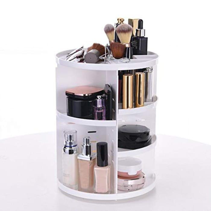 Olssda Adjustable Makeup Organizer 360 Degree Spinning Rotating