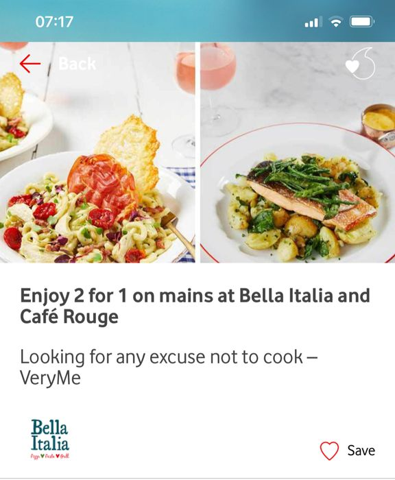 2for1 Main Meals VERY ME REWARDS