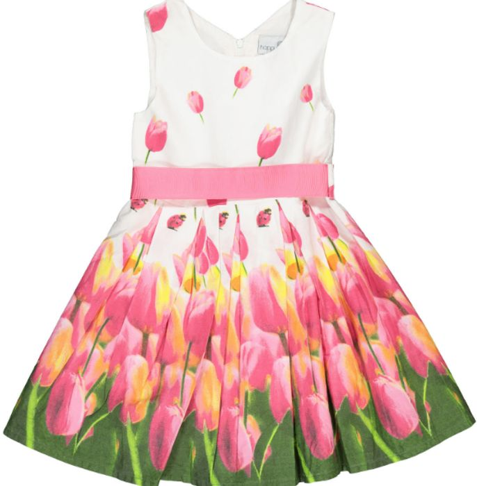 HAPPY GIRLS White & Pink Tulip Print Dress at TK maxx