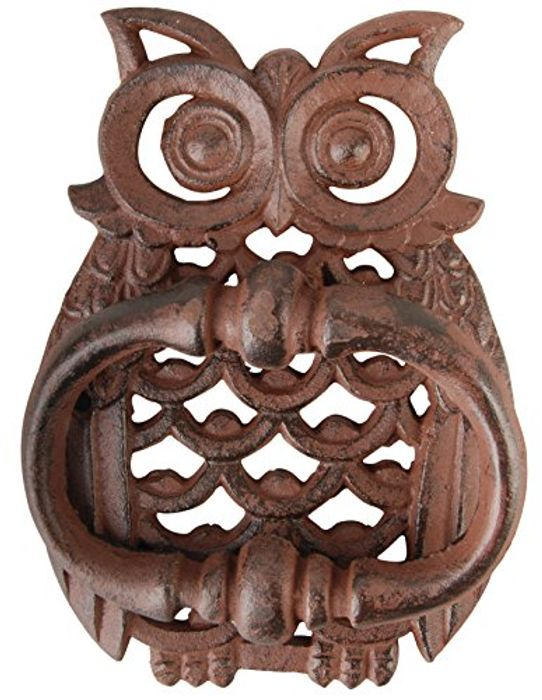 Esschert TT183 Design Owl Door Knocker - Cast Iron Brown