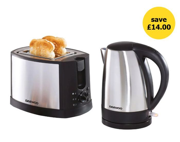 Daewoo Stainless Steel Kettle and Toaster Set - Save £14