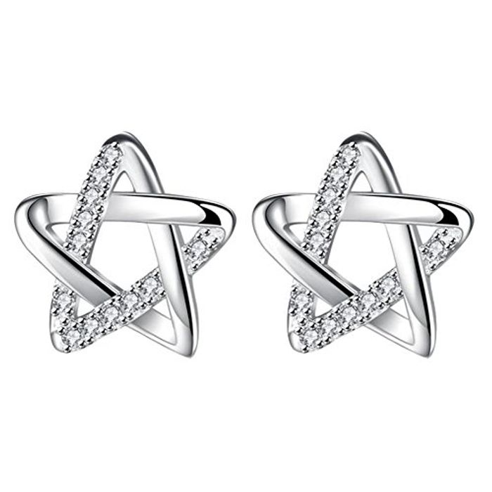 Topdo 1 Pcs Earrings Diamond Five-pointed Star Hollow Stud Only £0.3