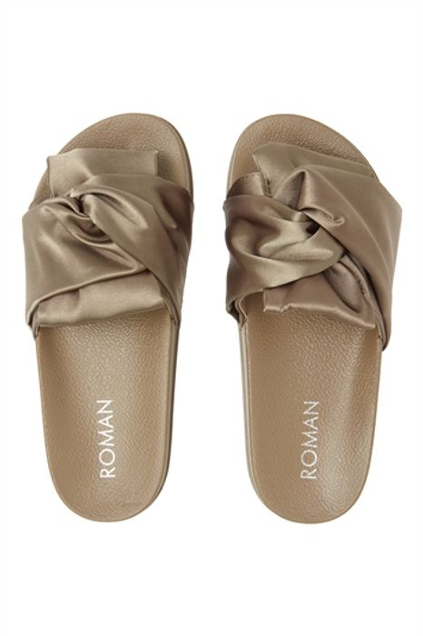 Women's Khaki Satin Knot Slider Sandal - SAVE £5.00