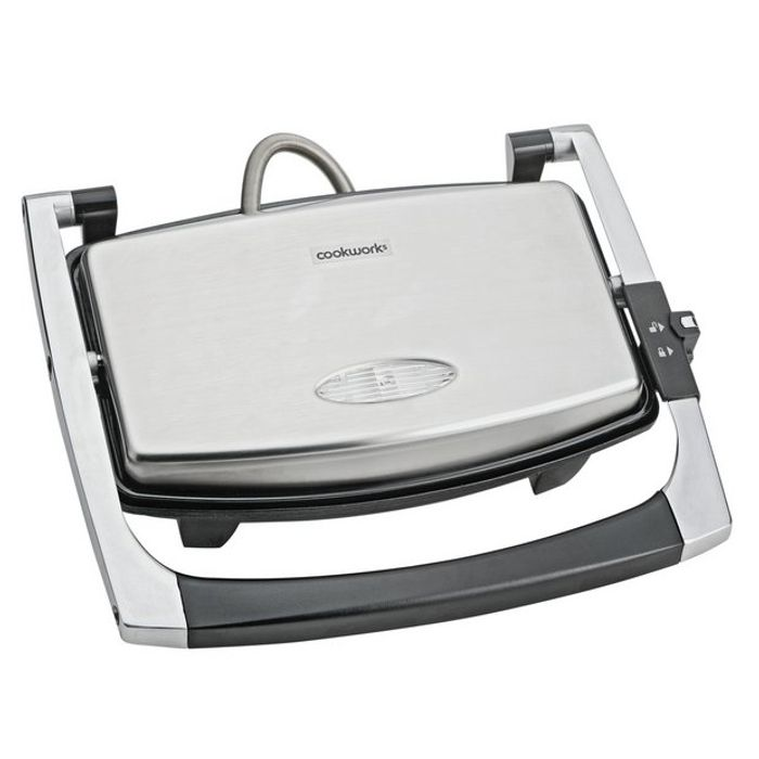 Cookworks 2 Portion Panini Grill - Stainless Steel